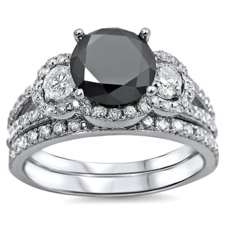 Noori 14k White Gold 2 1/4ct Black and White Round Diamond Bridal Ring Set (G-H, SI1-SI2)