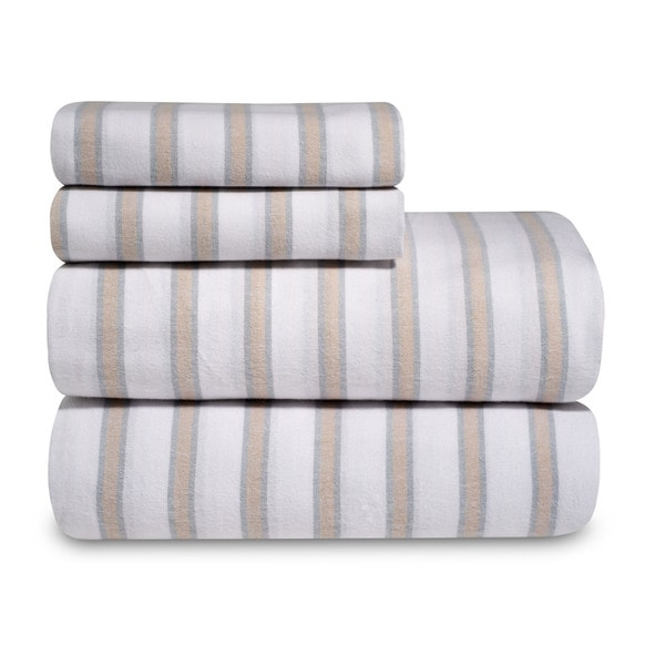 Yarn-Dyed 100 Percent Cotton Flannel Sheet Set