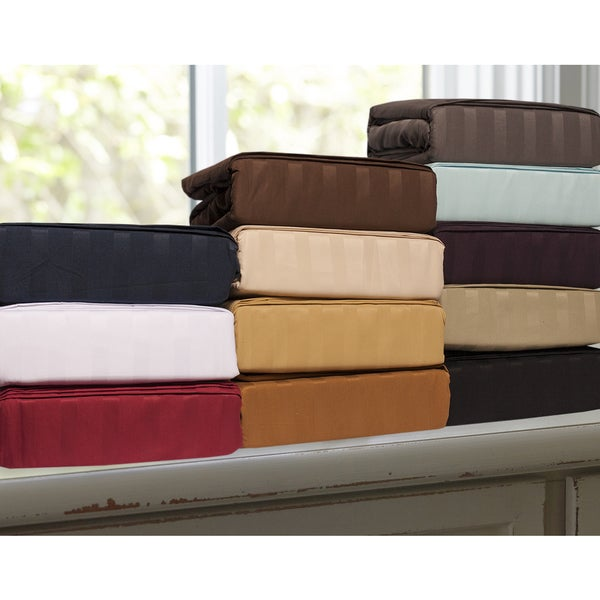 Luxurious Dobby Stripe 4-piece Hotel Collection Sheet Set 14166489