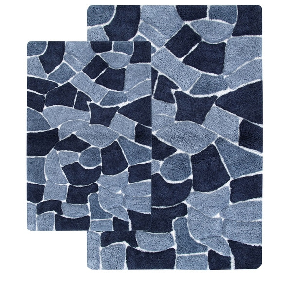 Cobblestone 2-piece Bath Rug Set - includes BONUS step out mat (As Is Item)