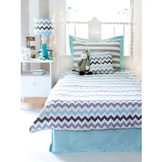 My Baby Sam Aqua Chevron 3-piece Twin Duvet Cover Set