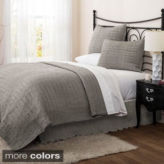 Lush Decor Crinkle 3-piece Solid Quilt Set