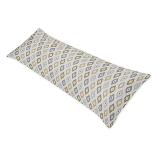 Taupe/ Grey Ikat Print Full Length Double Zippered Body Pillow Case Cover