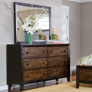 TRIBECCA HOME Draven Rustic Espresso Drifted Oak 6-drawer Dresser and Mirror