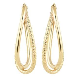 Fremada 10k Yellow Gold High Polish/ Diamond-cut Overlap Elongated Hoop Earrings