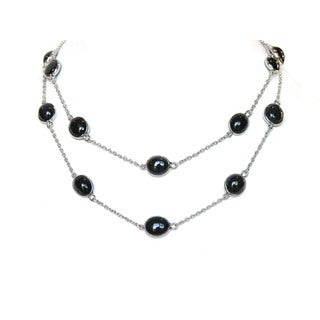 De Buman Sterling Natural Sapphire Long Necklace