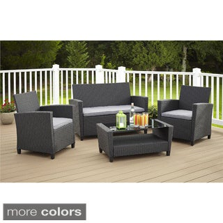Cosco Outdoor Malmo 4-piece Resin Wicker Conversation Set