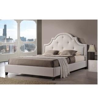 Baxton Studio Colchester Light Beige Linen Modern Platform Bed  King Size
