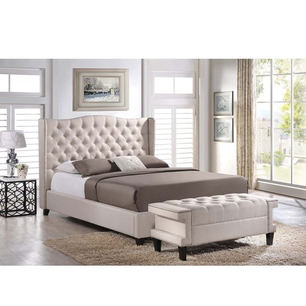 Baxton Studio Zant Queen/King Light Beige Modern 2 PC Bedroom Set