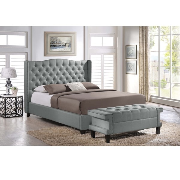 Baxton Studio Zant Queen King Grey Modern 2 Pc Bedroom Set