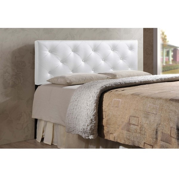 Full Upholstered Headboard White Modern Tufted Faux Leather ...
