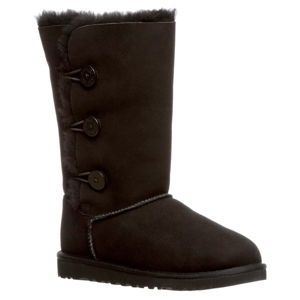 Ugg Australia Girls 'Bailey' Black Button Triplet Boots