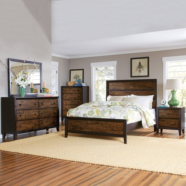 TRIBECCA HOME Draven Espresso Drifted Oak 5 Piece Bedroom Set