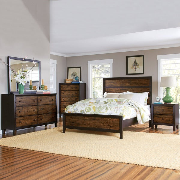 tribecca home draven espresso drifted oak 5 piece bedroom