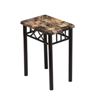 Adeco Marble-look and Black Metal Side Table