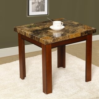 Adeco End Table with Faux Marble Top