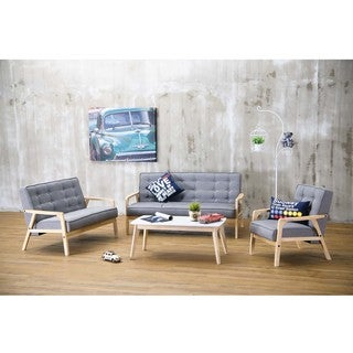 Baxton Studio Mid-Century Masterpieces 3PC Sofa Set in Gray Fabric