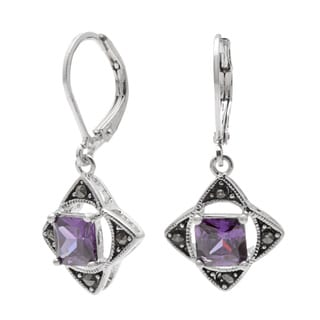 Silvertone Brass Amethyst and Cubic Zirconia Earrings