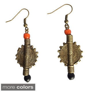 African Old Brass and Bead Flat Earrings (Ghana)