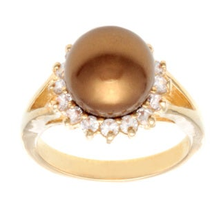Goldtone Brass Faux Pearl and Cubic Zirconia Ring