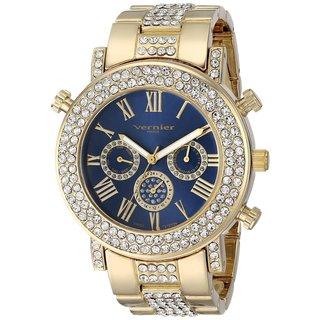Women's Vernier Paris Goldtone Crystal Bezel Multi-Function Swiss Quartz Watch