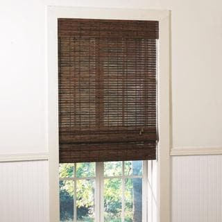 Santa Collection Bamboo Roman Shade in Rosewood Finish