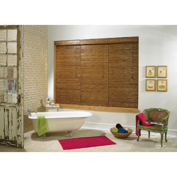 Tobermory Collection Bamboo Roman Shade in Oak Finish