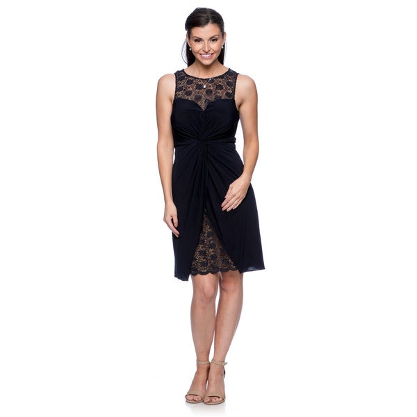 Alex Evenings Women's Deep Navy Lace-inset Cocktail Dress