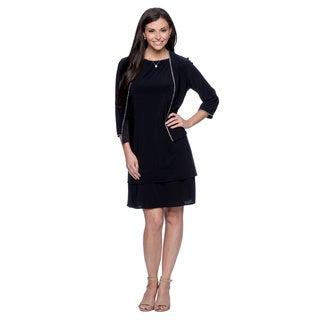 Alex Evenings Women's Navy Knee-length Jacket Dress with Rhinestone Trim