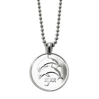 Silvertone Dolphin Coin Necklace