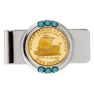 American Coin Treasures Gold-layered Westward Journey Keelboat Nickel Turquoise Money Clip
