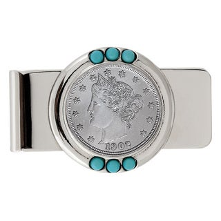 American Coin Treasures Liberty Nickel Turquoise Money Clip