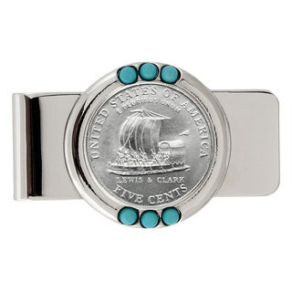 American Coin Treasures Westward Journey Keelboat Nickel Turquoise Money Clip