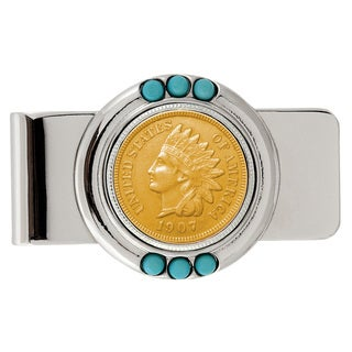 American Coin Treasures Gold-layered Indian Penny Turquoise Money Clip