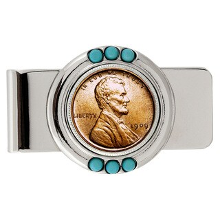 American Coin Treasures 1909 First-Year-of-Issue Lincoln Penny Turquoise Money Clip