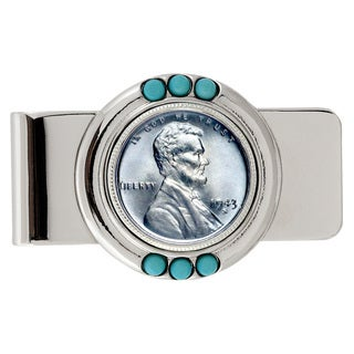 American Coin Treasures 1943 Lincoln Steel Penny Turquoise Money Clip
