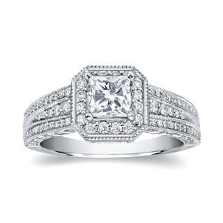 Auriya 14k White Gold 1 1/4ct TDW Princess Diamond Engagement Ring (H-I, SI1-SI2)