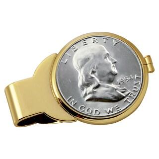 American Coin Treasures Silver Franklin Half Dollar Goldtone Money Clip