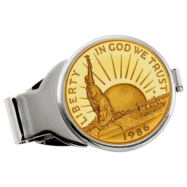 American Coin Treasures Gold-Plated Statue of Liberty Half Dollar Silvertone Money Clip