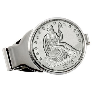 American Coin Treasures Silver Seated Liberty Half Dollar Silvertone Money Clip