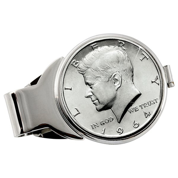 American Coin Treasures JFK 1964 First Year of Issue Half Dollar Silvertone Money Clip