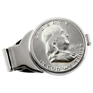 American Coin Treasures Silver Franklin Half Dollar Silvertone Money Clip