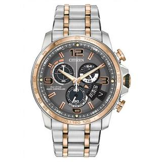 Men's Citizen BY0106-55H Chronograph Stainless Steel Silver/Rose Goldtone Watch