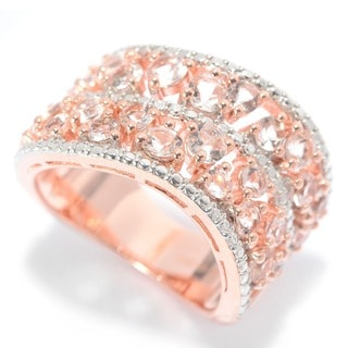 18k Rose Gold Over Silver Scattered Morganite Wave Band Ring