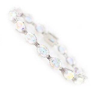 Platinum Over Sterling Silver White Opal Topaz Tennis Bracelet