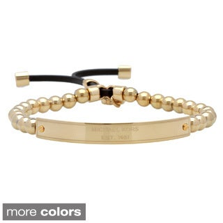Michael Kors Collection Logo Plaque Stretch Bracelet