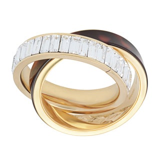 Michael Kors Goldtone and Tortoise Ring Set with Clear Crystals