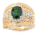 Yellow Vermeil Over Sterling Silver Chrome Diopside/ White Zircon Wide Band Ring