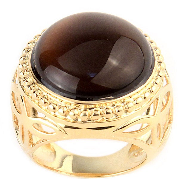 Goldplated Brown Crystal Ring