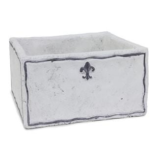 9x4.75-inch White Cement Square Fleurs Planter